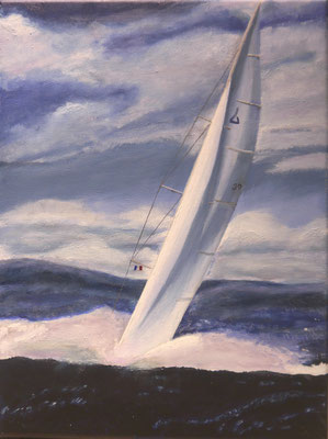 Zeilboot op zee, Jan Kok