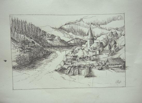 Dorpje bij de rivier,Gonnie Huysmans