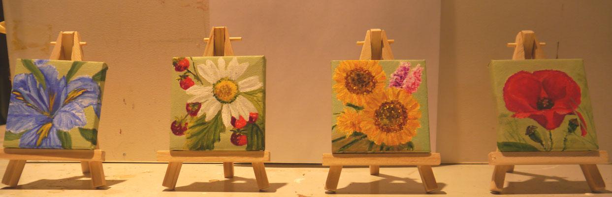 4 bloemenschilderijtjes, Ineke Schoenmaker
