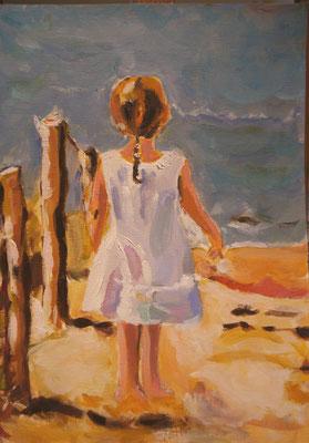 Meisje kijkt naar de zee, Mieke Jellema