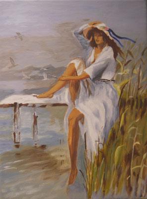 Vrouw bij het meer,Thea de Bruyn