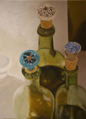 Stilleven met flessen, Anneke Marees