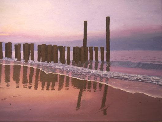 Avondstemming aan zee . Lisa Kouwenbeerg