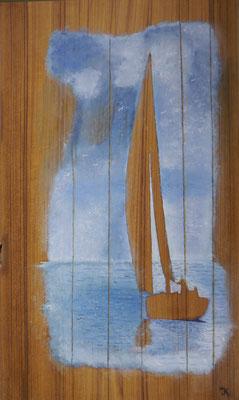 Boot op teak achtergrond, Jan Kok