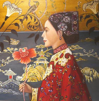 Japanse vrouw in tuin. Marianne Kars