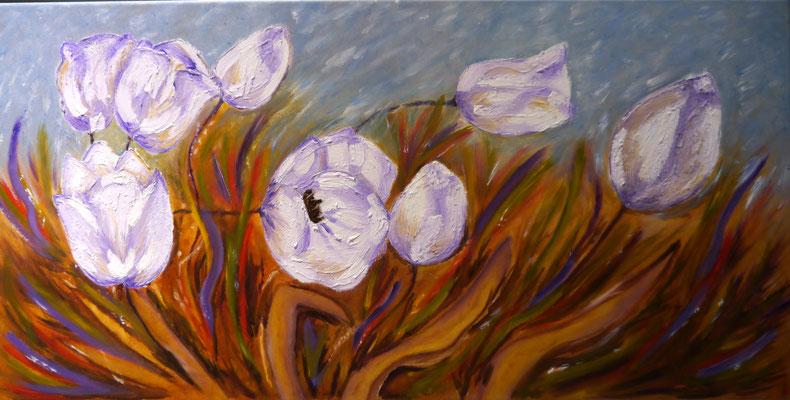 Witte tulpen in de wind, Regina van Vliet