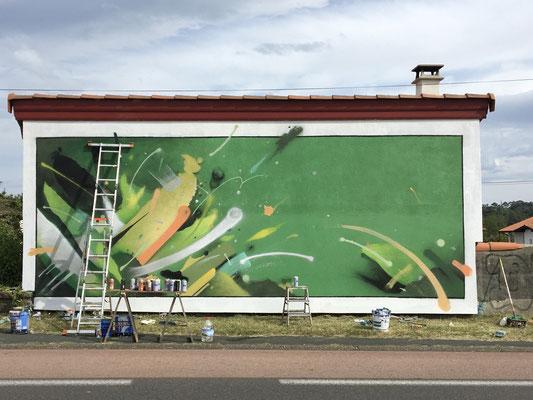 """Fresque murale,""""zone d'impact"""", Bidart 64, Pays basque. WIP."""