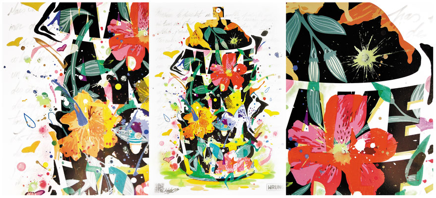 """Initiée par WRUNG et l'association """"cé ke du bonheur"""" l'exposition MAKEARTNOTWAR  à présenté différents artistes liés à  wrung divison lors d'une exposition à Paris en juin. Chaque peintre avait comme contrainte de se réapproprier la célèbre affiche créée"""