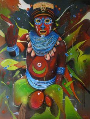 Loin de Port Moresby  technique mixte sur toile 150x1200cm.