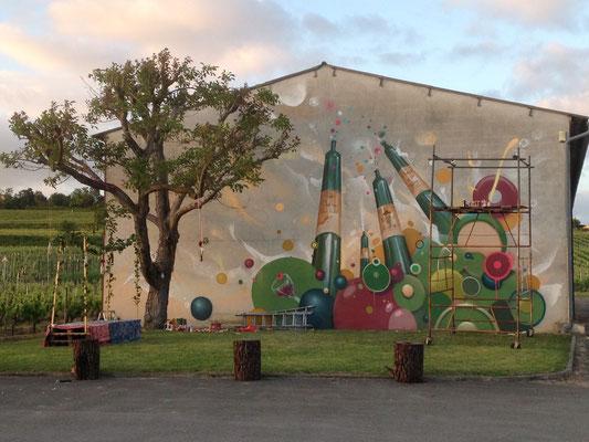 Fresque murale, Kendo X haut Rians. Bordeaux. Mur du Chai.