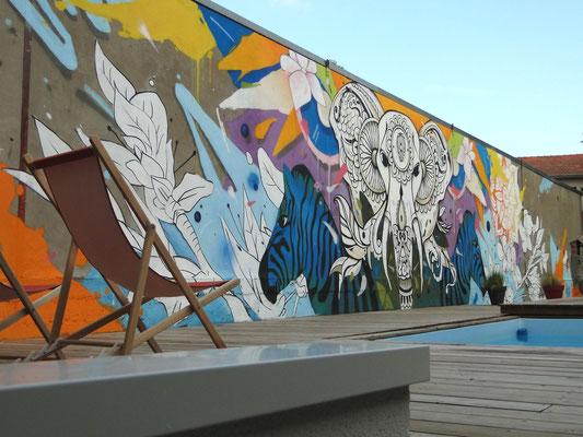 Elephant street art jardin piscine Bordeaux