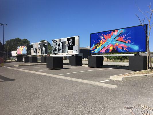 fresques TATIE.P / NASTI404 et KENDO sur panneaux aluminium Brasserie MIRA 2020. Arcachon
