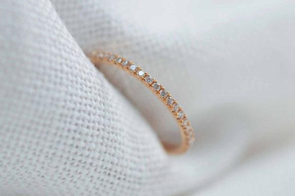 bague femme en or rose et diamants
