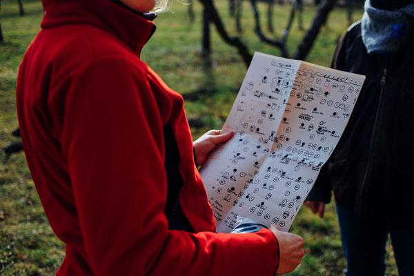 Welche Obstbaumsorte ist das? Der Plan des Hermannsgartens gibt Auskunft!