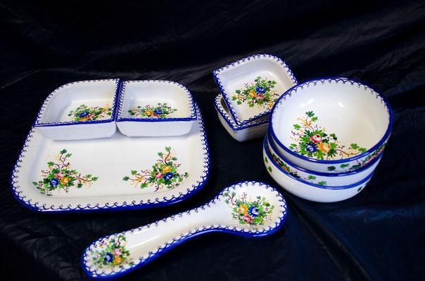 CERAMICA CAPETOLA Servizio pasta+ciotole portamestolo ceramica abruzzese