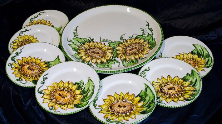 CERAMICA CAPETOLA Servizio Girasole ceramica abruzzese