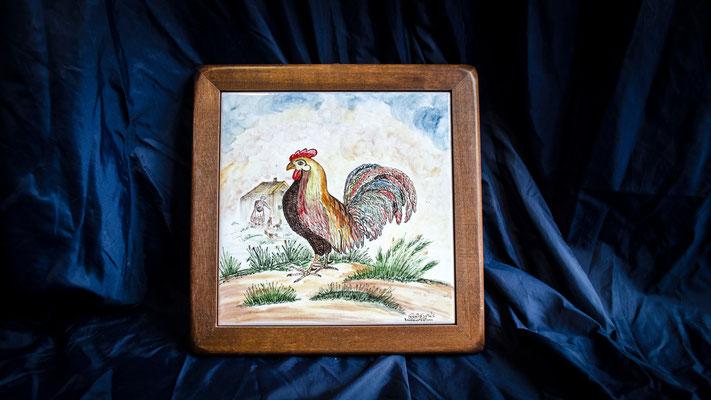 CERAMICA CAPETOLA  Gallo cm25x25 ceramica abruzzese