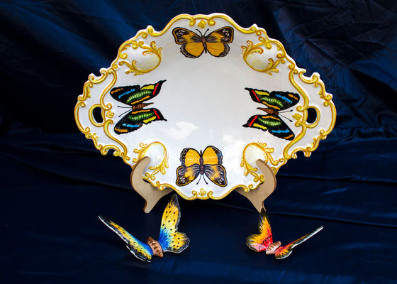 CERAMICA CAPETOLA Centrotavola farfalle  ceramica abruzzese