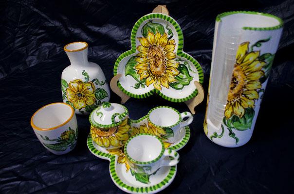 CERAMICA CAPETOLA Girasole servizi tazzine portabicchieri ceramica abruzzese