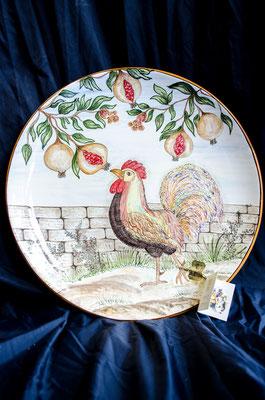 CERAMICA CAPETOLA Piatto Gallo cm40 ceramica abruzzese