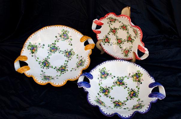 CERAMICA CAPETOLA Centrotavola rosaspina  ceramica abruzzese