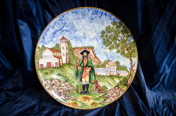 CERAMICA CAPETOLA Piatto SAN ROCCO cm40 ceramica abruzzese