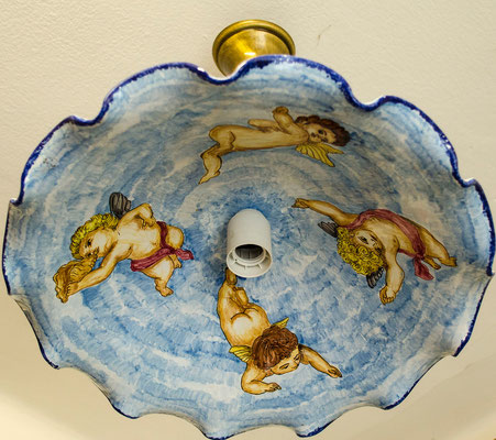 CERAMICA CAPETOLA lampadario angeli Ceramica abruzzese