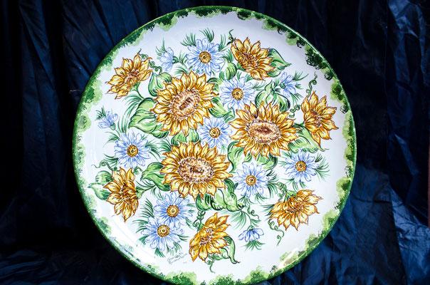 CERAMICA CAPETOLA Piatto Girasole cm50 ceramica abruzzese