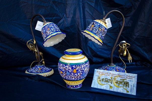 CERAMICA CAPETOLA,lampadario graffiato ceramica abruzzese