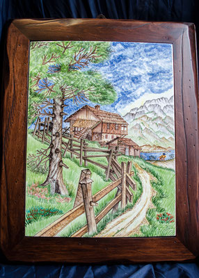 CERAMICA CAPETOLA Paesaggio cm30x40 ceramica abruzzese