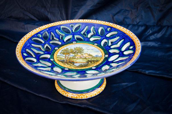 CERAMICA CAPETOLA Centrotavola paesaggio ceramica abruzzese