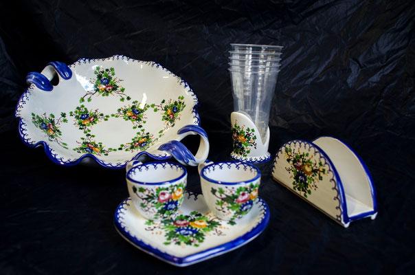 CERAMICA CAPETOLA Rosa Spina servizi tazzine n.2 centrotavola porta tavoglioli ceramica abruzzese