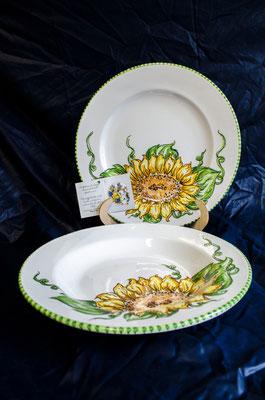 CERAMICA CAPETOLA Girasole piatto fondo piano ceramica abruzzese