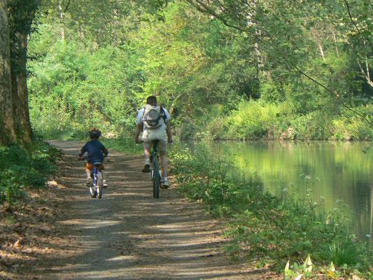 promenade en vélo le long des chemins de halage sur le canal du Midi