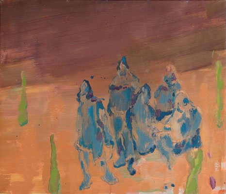 Gruppe, 2006/2012, Öl auf Leinwand, 50 x 60 cm