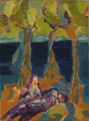 Beweinung, 2017, Öl auf Leinwand, 40 x 30 cm