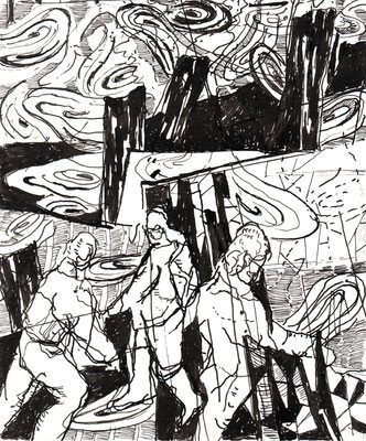 Erkundung, 2008, Federzeichnung, 25,8 x 21,8 cm