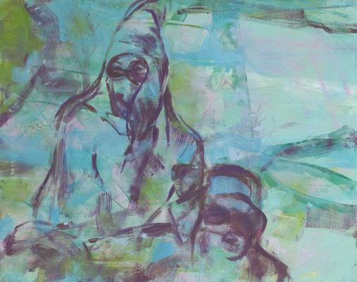 Obenauf, 2018, Öl auf Leinwand, 80 x 100 cm