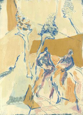 Gespräch, 2010, Gouache auf Papier, 40 x 30 cm