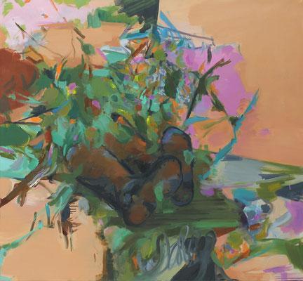 O.T., 2018, Öl auf Leinwand, 130 x 130 cm