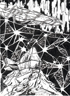 Fernab-3, 2008, Federzeichnung, 27,2 x 20 cm
