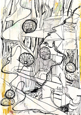 o.T., 2004, Tusche, Gouache auf Karton, 29,7 x 20,8 cm