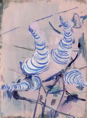 Aus dem Haus, 2010, Gouache auf Papier, 40 x 30 cm