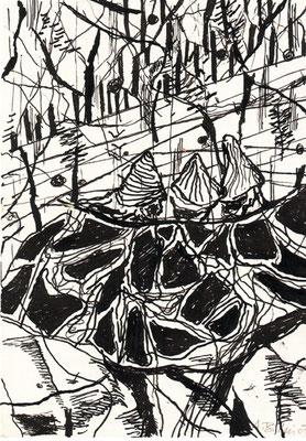 Die Philosophen, 2007, Federzeichnung, 21 x 14, 8 cm