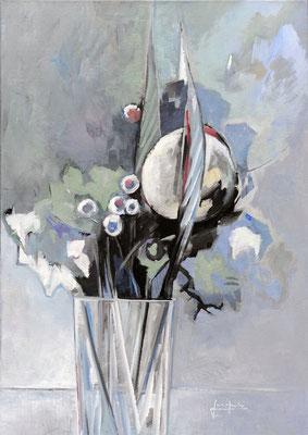 Mit runder Blüte; 2016; 60 x 90 cm; Acryl/ LW; Preis auf Anfrage