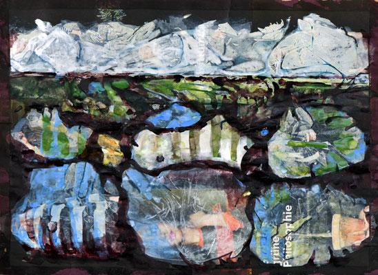 Marita Czepa, Greenland, 2019, Tusche, Aquarell auf Zeitschriftenpapier, 30 x 40 cm