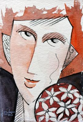 Selbstportrait, 2016; 9,5 x 14,5 cm; Aquarell und Tusche/ Büttenpapier; Preis auf Anfrage