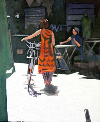Andrea Sroke . Frau mit Fahrrad . 2014 . 50x60cm . Acryl/Leinwand . Preis auf Anfrage