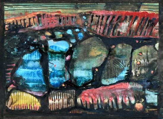 Marita Czepa, Bauland, 2019, Tusche, Aquarell auf Zeitschriftenpapier, 30 x 40 cm