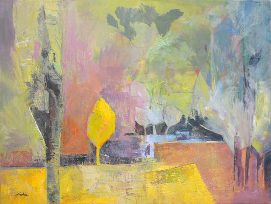 Andrea Sroke . Goldener Herbst . 2014 . 50x70cm . Acryl/Leinwand . Preis auf Anfrage